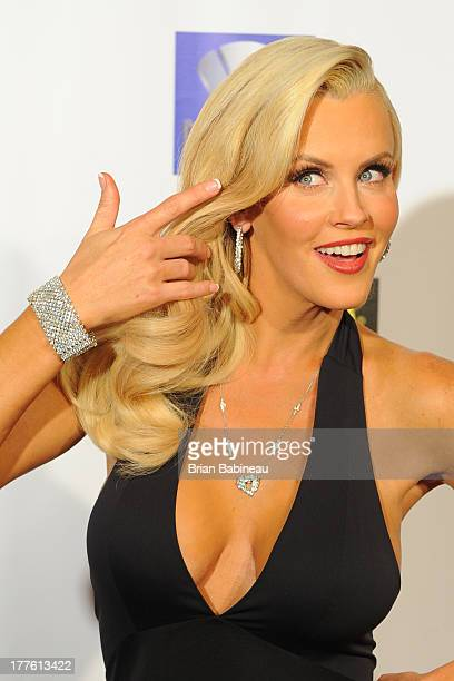Jenny McCarthy attends the Dancing with the Stars Charity event posing with jewelry by Lester Lampert on August 24 2013 at Hotel Baker in St Charles...