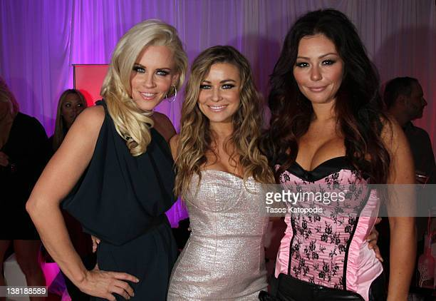 Jenny McCarthy Carmen Electra and Jenni JWoww Farley attend the Ninth Annual Leather and Laces event at the Regions Bank Tower on February 3 2012 in...