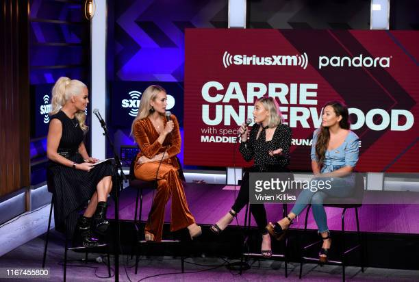 Jenny McCarthy Carrie Underwood and Maddie and Tae attend SiriusXM's Town Hall With Carrie Underwood Hosted By SiriusXM's Jenny McCarthy At The...