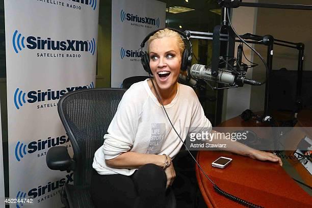 Jenny McCarthy hosts her limitedrun SiriusXM show Dirty Sexy Funny with Jenny McCarthy live on SiriusXM Stars at SiriusXM studios on July 16 2014 in...