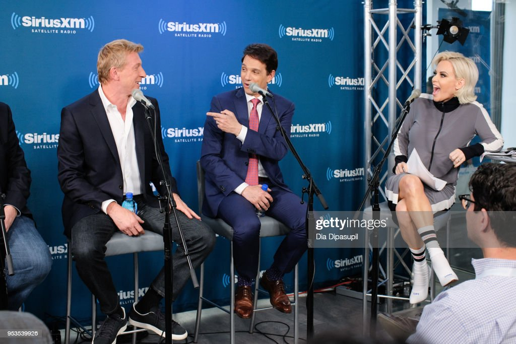 Jenny McCarthy interviews Ralph Macchio and William Zabka at SiriusXM Studios on May 1, 2018 in New York City.