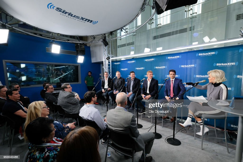 Jenny McCarthy interviews Ralph Macchio, William Zabka, Jon Hurwitz, Josh Heald, and Hayden Schlossberg at SiriusXM Studios on May 1, 2018 in New York City.