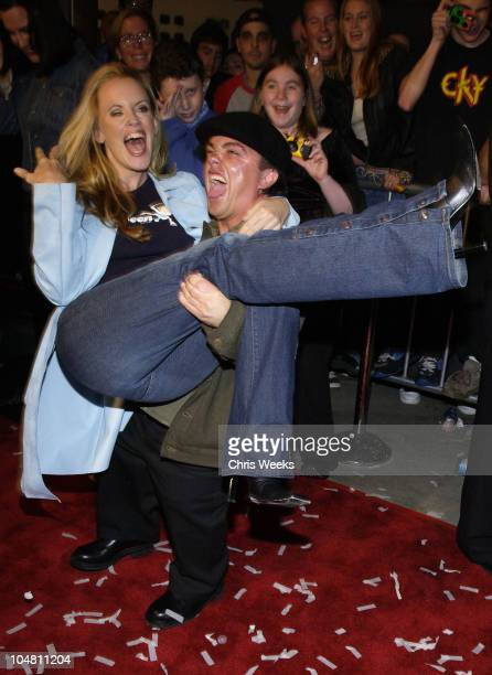 Jenny McCarthy Jason 'Wee Man' Acuna during Premiere of 'Jackass The Movie' at Cinerama Dome in Beverly Hills CA United States