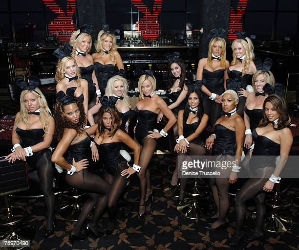 Jenny McCarthy poses with Playboy Bunny dealers during her 'Big Deal' charity fundraiser to benefit 'Early Childhood Partial Hospitalization Program...
