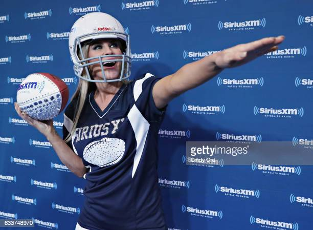 Jenny McCarthy visits the SiriusXM set at Super Bowl LI Radio Row at the George R Brown Convention Center on February 3 2017 in Houston Texas