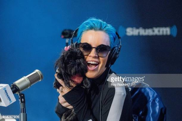 Jenny McCarthy with her dog DJ hosts the Jenny McCarthy show at SiriusXM Studios on February 14 2018 in New York City