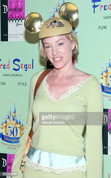 Jenny McShane attends the Disneyland 50th Anniversary limited edition of Tees designed by Jackie Brander party to celebrate 50 years of Disneyland on...