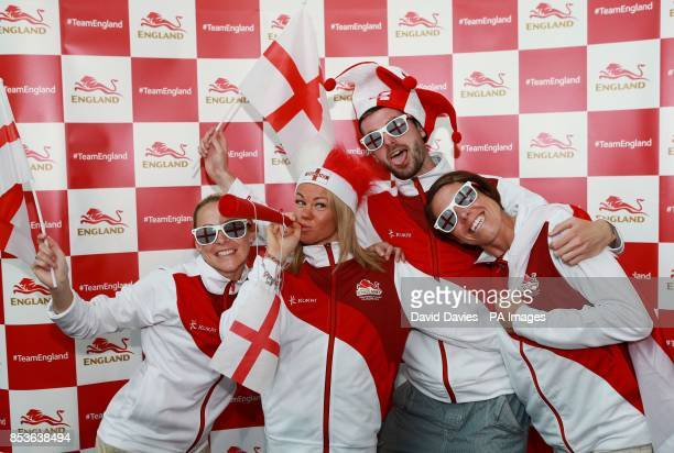 Jenny Meadows, Hayley Jones, Rich Peters and Helen Clitheroe during the kitting out session at St George's Park, Burton.