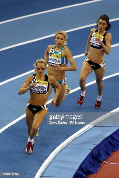Jenny Meadows on her way to victory in the Womens 800 metres during the Aviva International at the NIA, Birmingham.