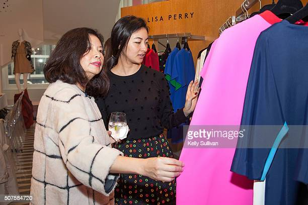Jenny Ming and Kristin Ming browse Lisa Perry clothing at Barneys New York on January 29 2016 in San Francisco California