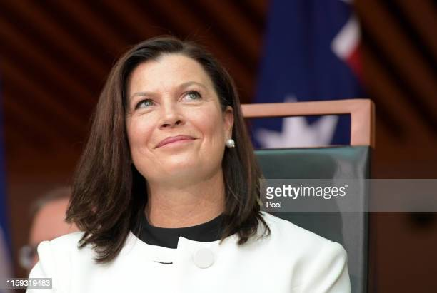 Jenny Morrison the wife of Prime Minister Scott Morrison at a reception in the Members Hall after Govenor General David Hurley AC DSC was sworn in as...