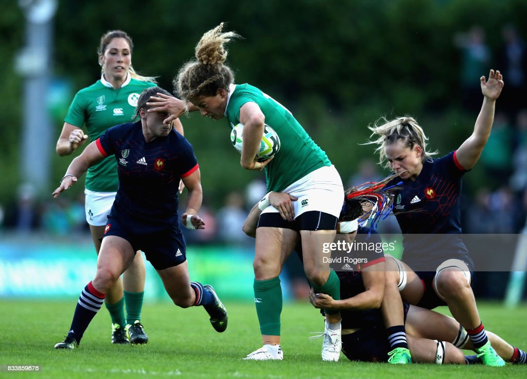 Jenny Murphy of Ireland in action during the Women's Rugby World Cup Pool C match between France and Ireland at UCD Bowl on August 17, 2017 in Dublin, Ireland.