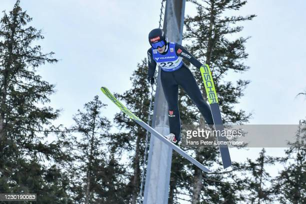 Jenny Nowak of Germany competes during the Women's Gundersen Normal Hill HS98/5.0 Km at the FIS Nordic Combined World Cup at WM Stadion Ramsau on...
