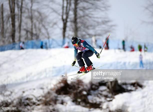 Jenny Owens of Australia jumps during a Ski Cross training session at Rosa Khutor Extreme Park on day 12 of the Sochi Winter Olympics on February 19...