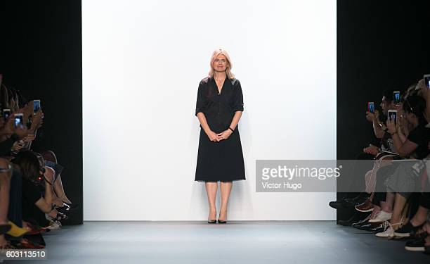Jenny Packham recieves applause at end of show- Front Row - September 2016 - New York Fashion Week: The Shows at The Dock, Skylight at Moynihan...