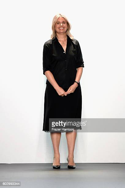 Jenny Packham walks the runway at the Jenny Packham fashion show during New York Fashion Week: The Shows at The Dock, Skylight at Moynihan Station on...