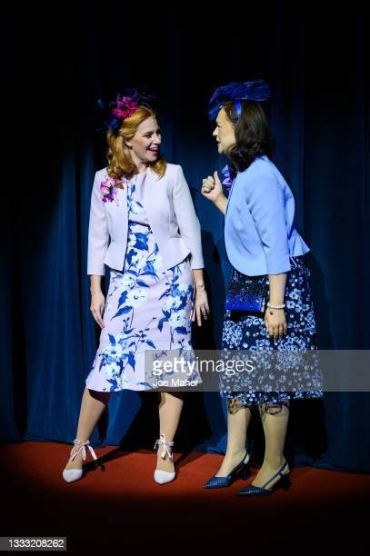 """Jenny Rainsford as Princess Beatrice and Eliza Butterworth as Princess Eugenie during dress rehearsals of the play """"The Windsors: Endgame"""" at the..."""