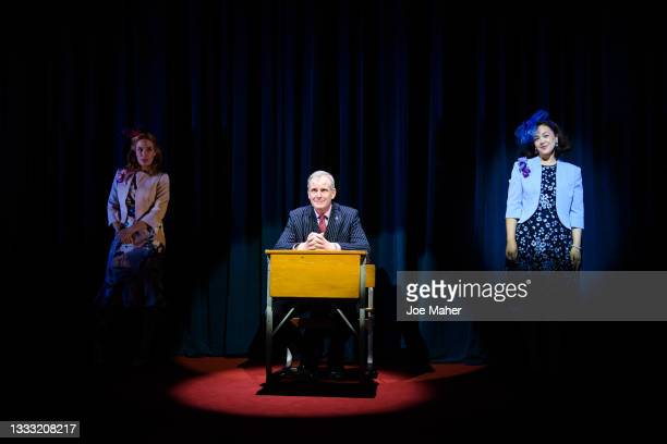 """Jenny Rainsford as Princess Beatrice, Tim Wallers as Prince Andrew and Eliza Butterworth as Princess Eugenie during dress rehearsals of the play """"The..."""