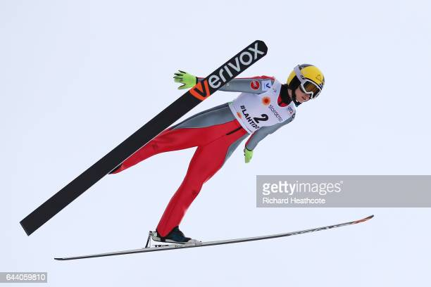 Jenny Rautionaho of Finland makes a practice jump prior to the Women's Ski Jumping HS100 qualification rounds during the FIS Nordic World Ski...