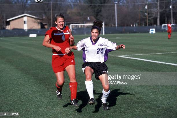 Jenny Rossman nad Katie Buchert of Ohio Wesleyan University fight for the ball during the Divison 3 Women's Soccer Championships held at Roy Rike...