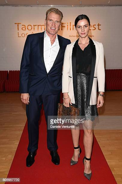 Jenny Sandersson and Dolph Lundgren attend Cocktail Party Celebrating 1th Taormina Film Fest Los Angeles 2016 at Italian Cultural Institute Of Los...