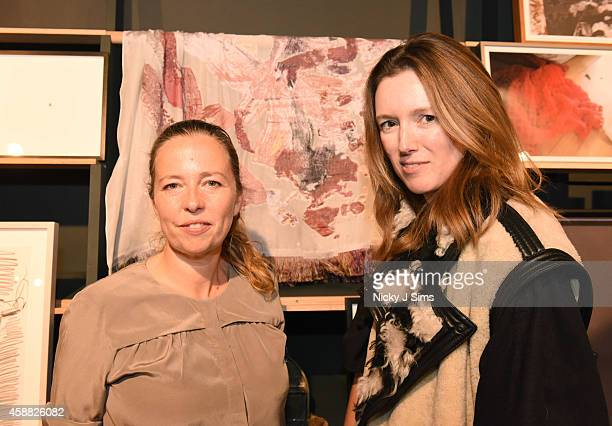Jenny Saville and Clare Waight Keller appear with the scarf they created together House of Voltaire opening in Mayfair supported by Chloe on November...