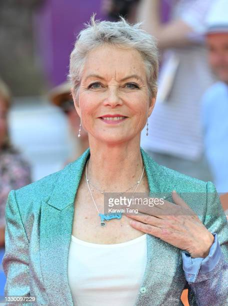 """Jenny Seagrove wears a necklace in tribute to actress Kelly Preston, who died of breast cancer in 2020, as she attends the """"Off The Rails"""" World..."""
