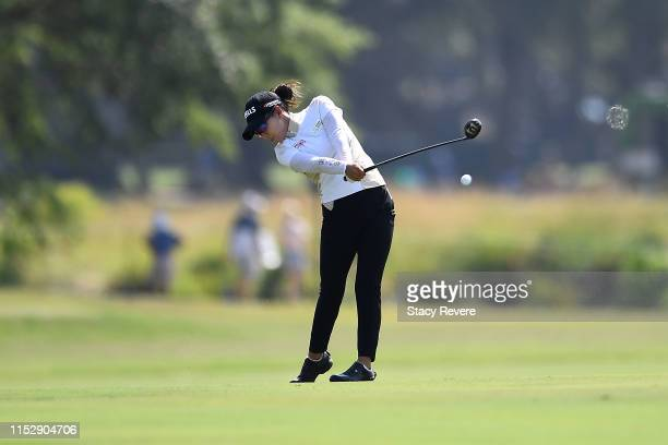 Jenny Shin hits her second shot on the ninth hole during the second round of the US Women's Open Championship at the Country Club of Charleston on...