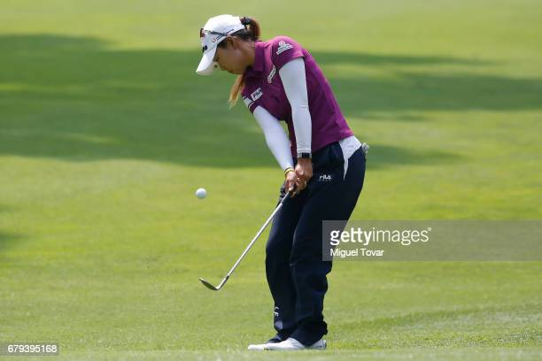 Jenny Shin of Korea chips the ball during the second round of the Citibanamex Lorena Ochoa Match Play Presented by Aeromexico and Delta at Club De...