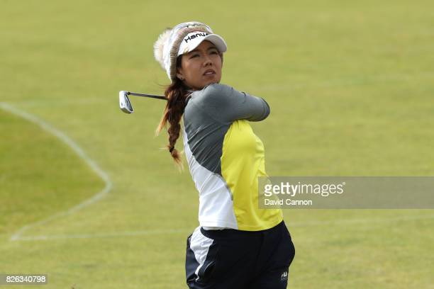 Jenny Shin of Korea hits an approach shot during the second round of the Ricoh Women's British Open at Kingsbarns Golf Links on August 4 2017 in...