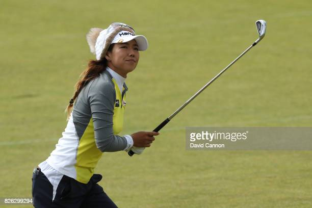 Jenny Shin of Korea hits her second shot on the 18th hole during the second round of the Ricoh Women's British Open at Kingsbarns Golf Links on...
