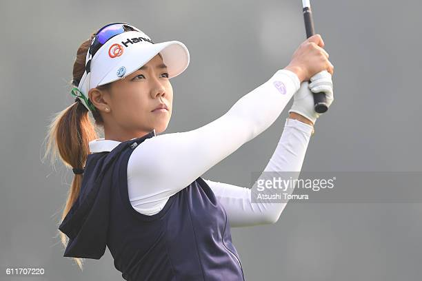 Jenny Shin of Korea hits her tee shot on the 3rd hole during the 3rd round of the 2016 Reignwood LPGA Classic on October 1 2016 in Beijing China