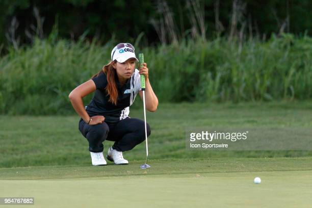 Jenny Shin of Korea lines up her putt on the 3rd green during the First Round of the Volunteers of America Texas Classic on May 4 2018 at the Old...