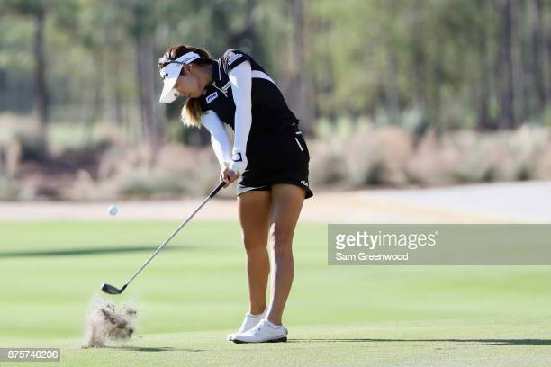 Jenny Shin of Korea plays a shot on the second hole during round three of the CME Group Tour Championship at the Tiburon Golf Club on November 18...