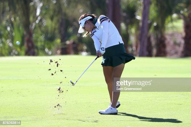 Jenny Shin of Korea plays a shot on the second hole during the final round of the CME Group Tour Championship at the Tiburon Golf Club on November 19...