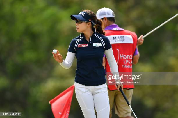 Jenny Shin of Republic of Korea acknowledges to the fan during the final round of the Honda LPGA Thailand at the Siam Country Club Pattaya on...