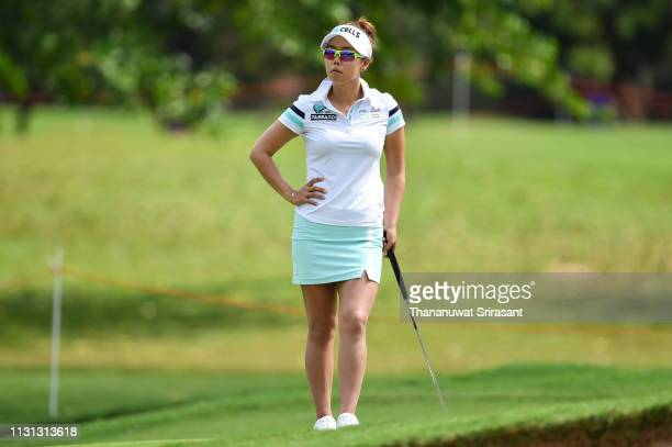 Jenny Shin of Republic of Korea looks during the second round of the Honda LPGA Thailand at the Siam Country Club Pattaya on February 22 2019 in...