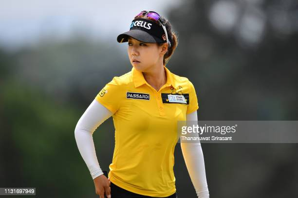 Jenny Shin of Republic of Korea looks during the third round of the Honda LPGA Thailand at the Siam Country Club Pattaya on February 23 2019 in...