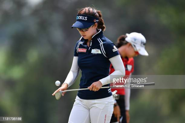Jenny Shin of Republic of Korea looks on golf ball during the final round of the Honda LPGA Thailand at the Siam Country Club Pattaya on February 24...