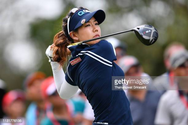 Jenny Shin of Republic of Korea plays the shot during the final round of the Honda LPGA Thailand at the Siam Country Club Pattaya on February 24 2019...