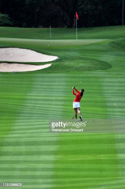 Jenny Shin of Republic of Korea plays the shot during the first round of the Honda LPGA Thailand at the Siam Country Club Pattaya on February 21 2019...