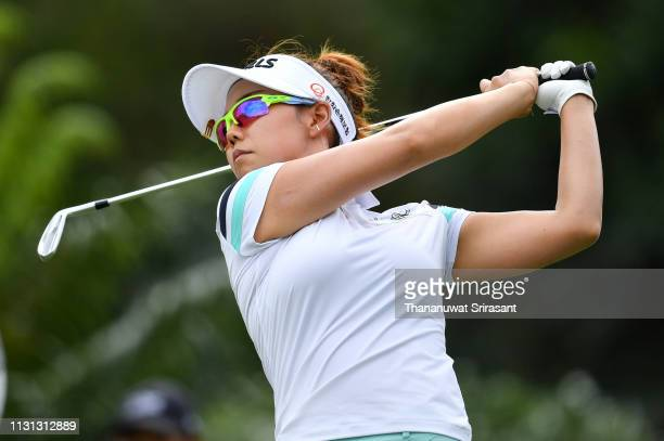 Jenny Shin of Republic of Korea plays the shot during the second round of the Honda LPGA Thailand at the Siam Country Club Pattaya on February 22...