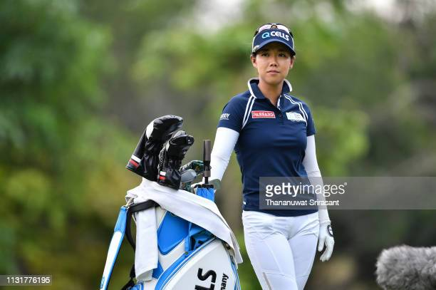 Jenny Shin of Republic of Korea smiles during the final round of the Honda LPGA Thailand at the Siam Country Club Pattaya on February 24 2019 in...