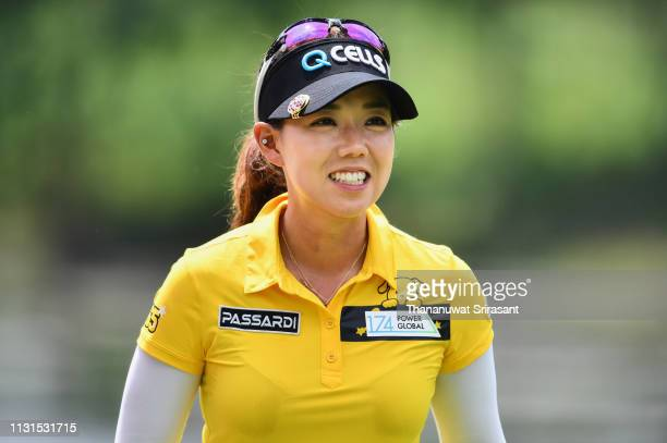Jenny Shin of Republic of Korea smiles during the third round of the Honda LPGA Thailand at the Siam Country Club Pattaya on February 23 2019 in...