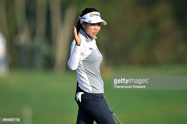 Jenny Shin of South Korea acknowledges the fan during day three of the 2015 LPGA Thailand at Siam Country Club on February 28 2015 in Chon Buri...
