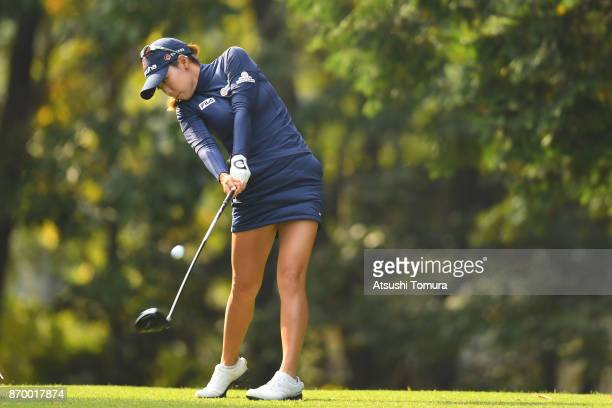 Jenny Shin of South Korea hits her tee shot on the 2nd hole during the second round of the TOTO Japan Classics 2017 at the Taiheiyo Club Minori...
