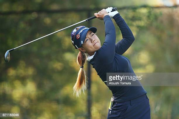 Jenny Shin of South Korea hits her tee shot on the 8th hole during the second round of the TOTO Japan Classics 2016 at the Taiheiyo Club Minori...