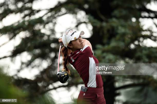 Jenny Shin of South Korea hits her tee shot on the third hole during the third round of the Meijer LPGA Classic at Blythefield Country Club on June...