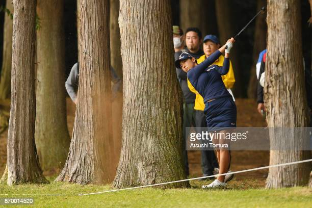 Jenny Shin of South Korea hits her third shot on the 9th hole during the second round of the TOTO Japan Classics 2017 at the Taiheiyo Club Minori...