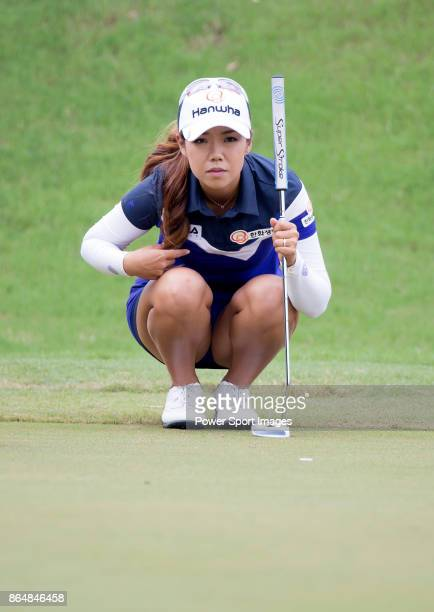 Jenny Shin of South Korea lines up a putt on the third hole during day four of Swinging Skirts LPGA Taiwan Championship on October 22 2017 in Taipei...
